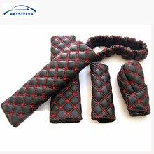 KKYSYELVA Hand Brake Case & Gear shift case car interior accessory View Mirror Cover Interior Accessory Set Belts цена