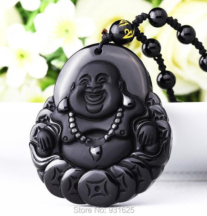 High Quality Unique Natural Black Obsidian Carved Buddha Lucky Amulet Pendant Necklace For Women Men pendants Fine Jewelry