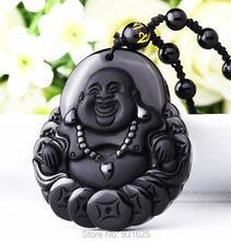 Haute qualité Unique Natural Black Obsidian sculpté bouddha chanceux amulette pendentif collier pour femmes hommes pendentifs beaux bijoux de Jade