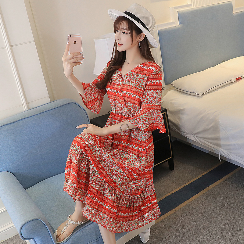 Maternity 2018 new summer beach vacation Pregnant women Dress go out of fashion dress