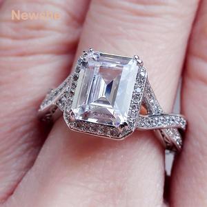 Image 4 - Newshe 925 Sterling srebrne wesele pierścienie 2.52 karatów AAA sześcienne cyrkonia pierścionek zaręczynowy dla kobiet rozmiar 9