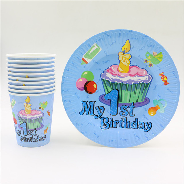20pcs Baby 1st First Birthday Decor set disposable party paper cup plates supplies happy Birthday Fun  sc 1 st  AliExpress.com & 20pcs Baby 1st First Birthday Decor set disposable party paper cup ...