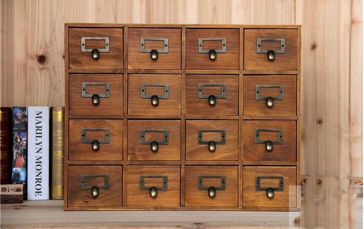 1PC Zakka 16 Lattice Desktop Drawer Storage Box Wooden Retro Creative Cabinet Living Room Decoration