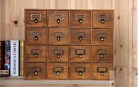 1PC Zakka 16 Lattice Desktop Drawer Storage Box Wooden Retro Creative Storage Cabinet Living Room Decoration Drawer JL 0900