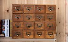 1PC Zakka 16 krata szufladka na biurko schowek drewniane Retro kreatywny szafka do przechowywania salon dekoracji szuflady JL 0900