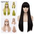 Qiyun. z длинные взрыва жаропрочных Волос Синтетический парик фронта шнурка аниме косплей Длинные Прямые Женщин Парик Черный Косплей парик