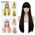 Qiyun.z long bang heat resistant Hair Synthetic lace front wig anime cosplay Long Straight Women Wig Black Cosplay Wig