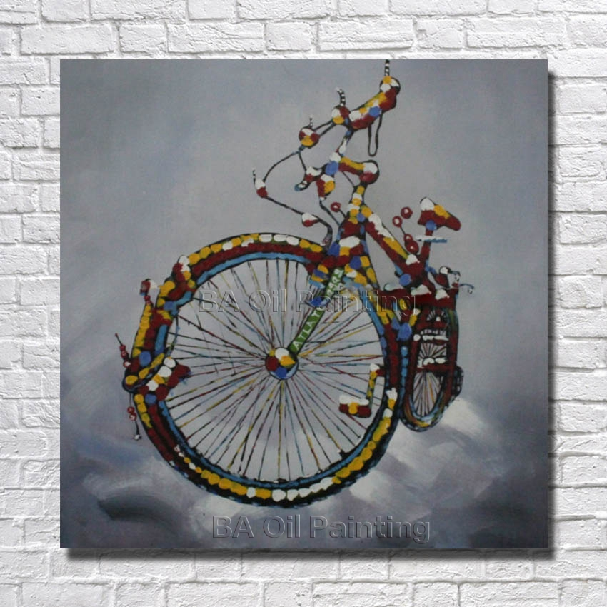 POP Selling Abstract Bicycle Wall Art Pictures Handmade Oil Painting On  Canvas For Living Room Home Decoration No Frame  In Painting U0026 Calligraphy  From Home ...