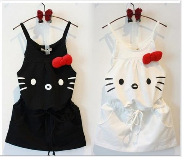 74fa0d6f05 Retail! new 2015 baby girls white and black hello kitty fashion dress  children print dresses brand kids summer clothing