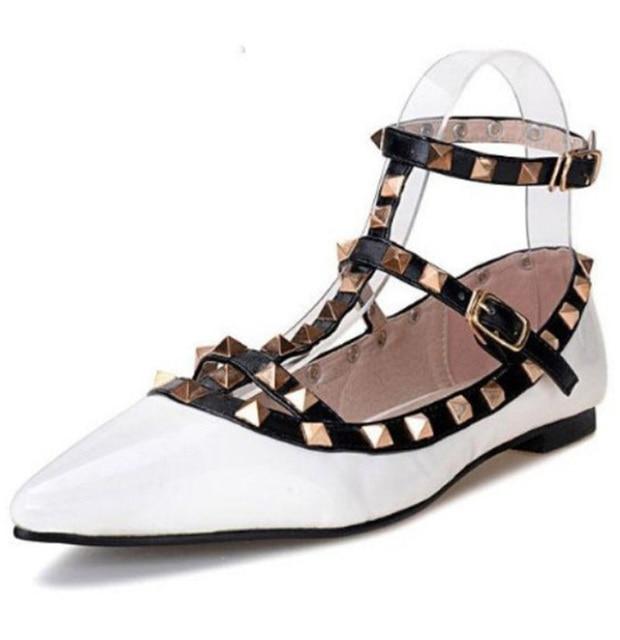 Панк готический multi цвет черный ремешок T лодыжки wrap ремешками заклепки шипованные шипы балетки обувь оксфорды балетки оксфорды