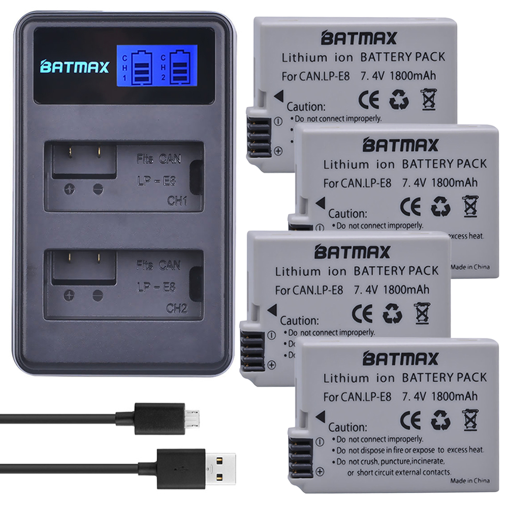 1800 mAh 4 piezas LP-E8 LPE8 LP E8 Cámara baterías + LCD cargador Dual USB para Canon EOS 550D 600D 650D 700D Rebel X4 X5 X6i X7 2i T3i