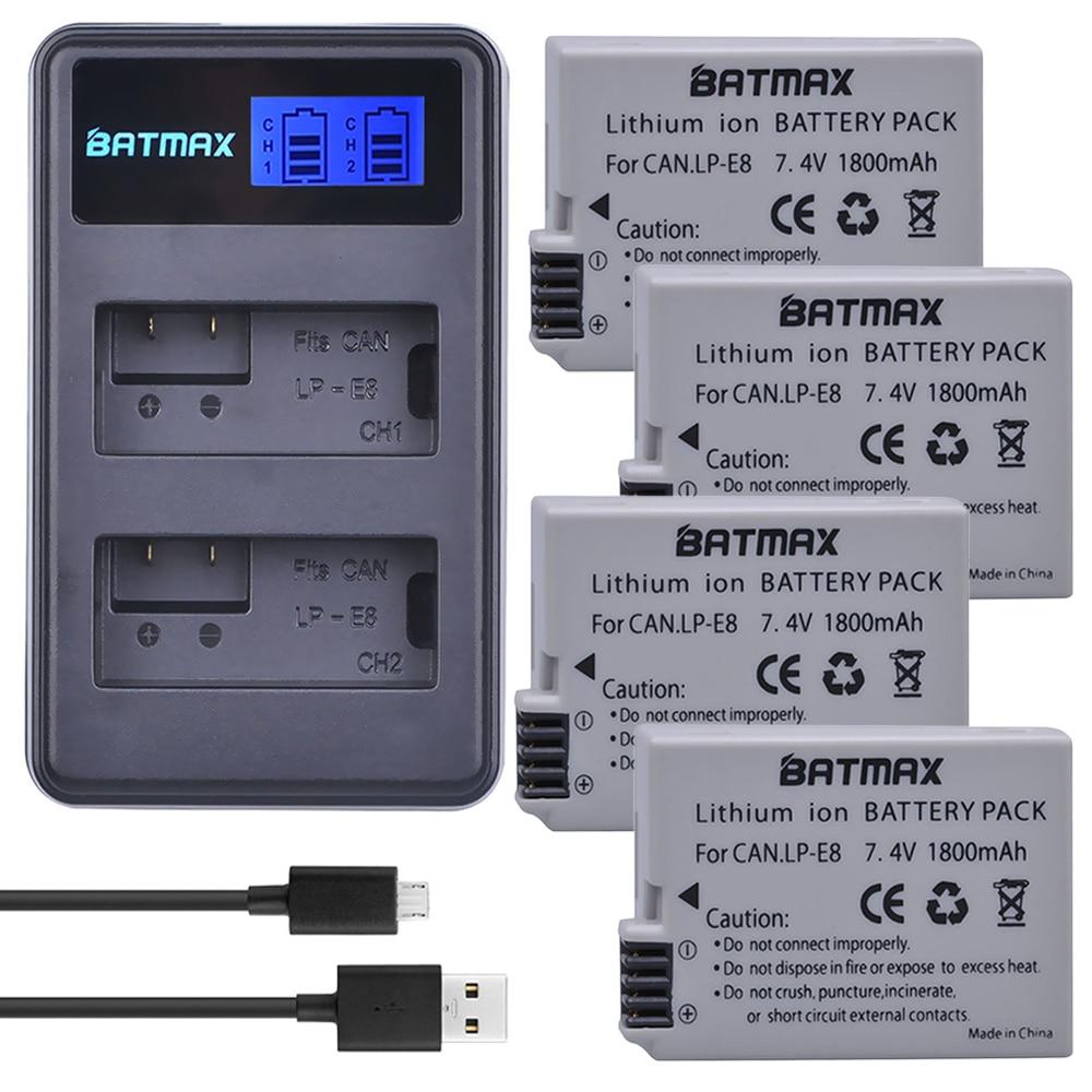 1800 mah 4 pcs LP-E8 LPE8 LP E8 Caméra Batteries + LCD Double USB Chargeur pour Canon EOS 550D 600D 650D 700D Rebelles X4 X5 X6i X7 2i T3i