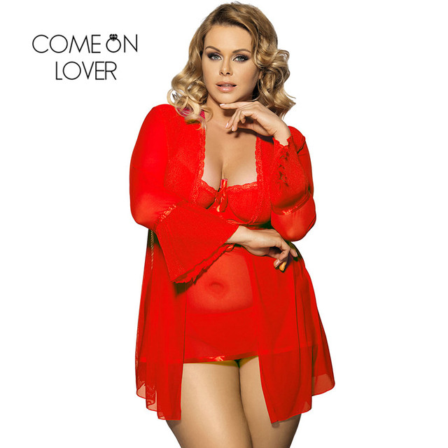 Comeonlover Wholesale Sexy Plus Size Lingerie Femme Porno High Quality Soft Nightgown Top +G string+Coat Sexy Pajamas RI80185