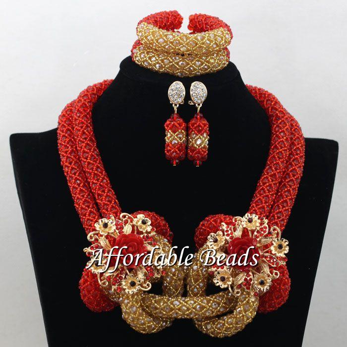 77c1d8d05109 Champagne rojo joyería nupcial set pretty Dubai la joyería del oro hecho a  mano diseño al por mayor envío gratuito NCD009