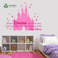 YOYOYU Calcomanía de Vinilo de Alta Calidad de Dibujos Animados Princesa Castillo con Quote Art Etiqueta de La Pared Estrellas Niñas Dormitorio Decoración Cartel Y017