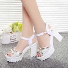 Aidenkid 2019 summer ladies new waterproof platform rhinestone buckle high heel sandals thick with fish mouth