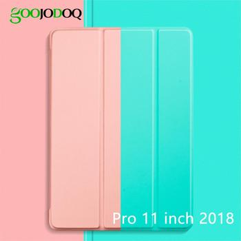 GOOJODOQ Case for iPad Pro 11 2018, Ultra Slim PU Leather Smart Cover+ Soft Back Coque Funda for iPad Pro 11 inch Case 2018
