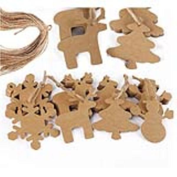 New Year 100pcs Christmas Gift Parcel Tags Xmas Tree Snowflake Deer Snowman Scalloped Kraft Paper Tag with 20M Rope (Brown)