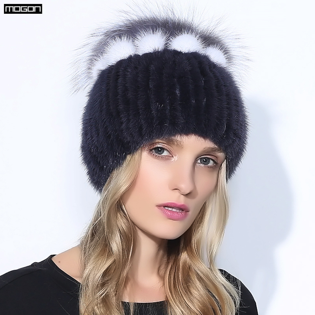 Real Mink Fur Adult Solid Hats For Women Winter Hat With Rex Rabbit Flowers Top 2016 Russia Fashion Brand Cap Knit Beanies