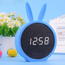 M.Sparkling LED Rabbit Silicone Wood Bell Control Mute Alarm Clock Calendar Clock Electronic Wooden Creative Table Desk Clock()