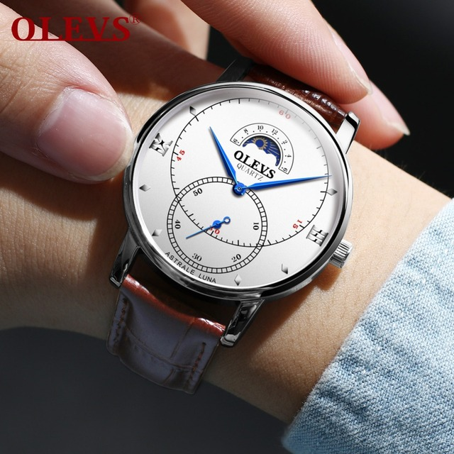 OLEVS Moon Phase Quartz Watches For Men Business Style Leather Strap Sub-dial Male Clock Waterproof Man's Wristwatches Gift 5874