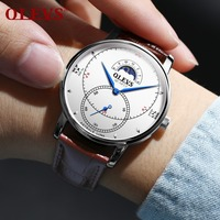 OLEVS Moon Phase Quartz Watches For Men Business Style Leather Strap Sub dial Male Clock Waterproof Man's Wristwatches Gift 5874