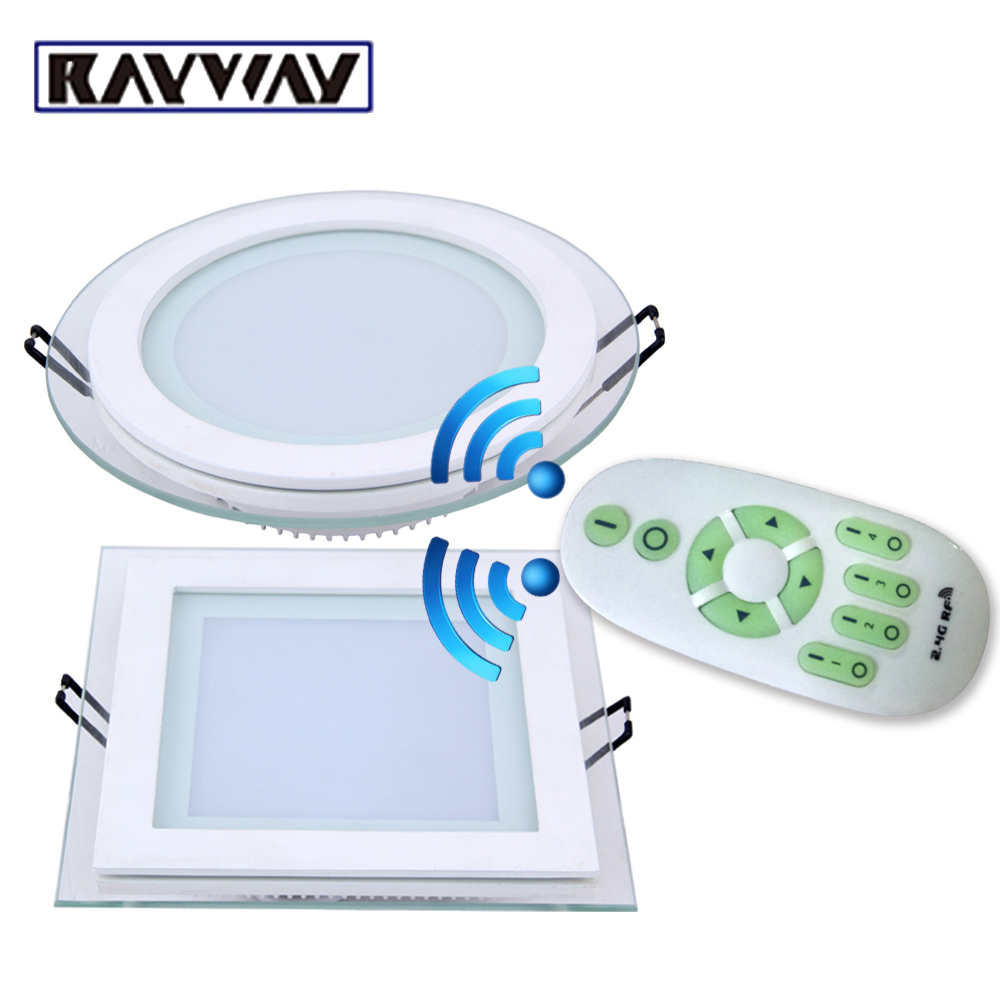RAYWAY 6W 12W 18W dimmable LED Ceiling Panel Light 2.4G Wireless Remote control dimming glass ceiling Downlight lamps AC85V-265V
