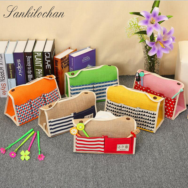Korean style hanging Tissue Box 6 Pocket Linen Fabric Tissue Case Seat Type Car pumping tray Napkin Paper Table Decoration AU378