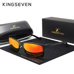 Image 2 - KINGSEVEN Brand Design Fashion Aluminum Magnesium Sunglasses Men Polarized Driving Eyewear For Men UV400 Oculos N7021