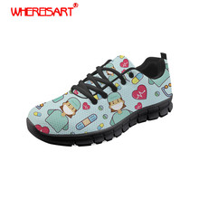 WHEREISART Shoes Women Cartoon Nurse Printing Flat Shoes Ladies Round Toe Sneakers for Teenagers Lace-up Light Nurse Mesh Shoes