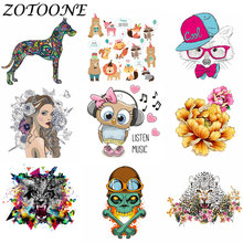 ZOTOONE DIY Iron on Patches for Clothing Punk Skull Girl Animal Heat Transfers Sticker Childs Clothes Star Flower Applique E