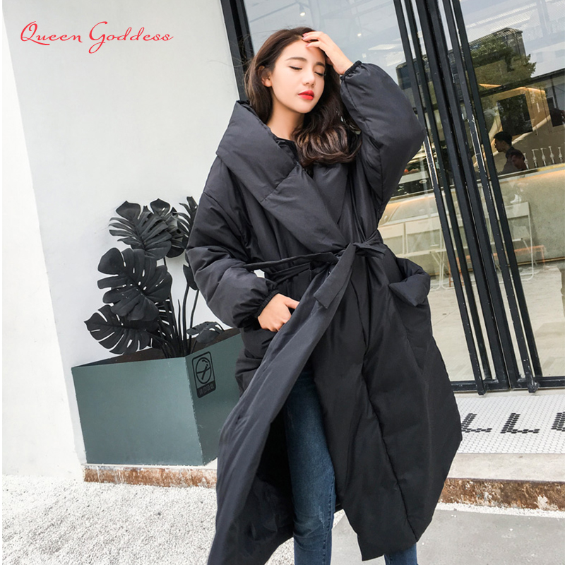 Fashion No Zipper And Button Adjustable Waist Thicken And Long Down Jacket Women Plus Size Loose And Cloak Style For Winter