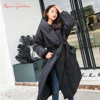Mode Keine zipper und taste einstellbar taille verdicken und lange unten jacke frauen plus größe lose und mantel stil für winter