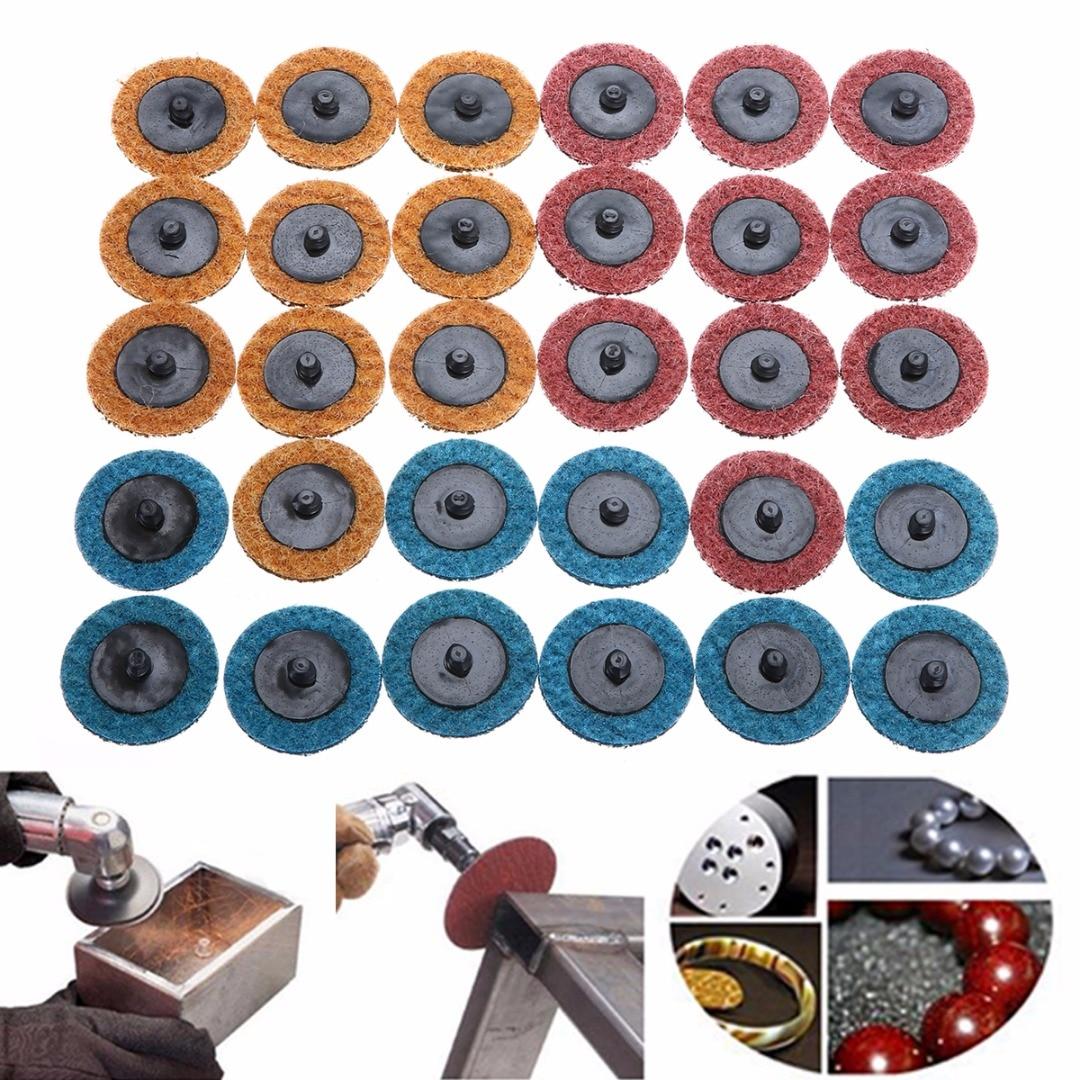 30pcs 2 50mm Roloc Roll Lock Sanding Disc Conditioning Fine Medium Coarse Polishing Pad For Abrasive Tools