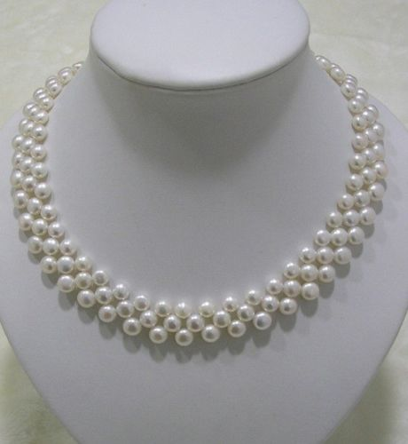 noble women gift Jewelry Silver Clasp Natural GW Fine GW Noble 7-8 mm AAA White Oblate Shape Pearl Necklace hyperset noble hs6012