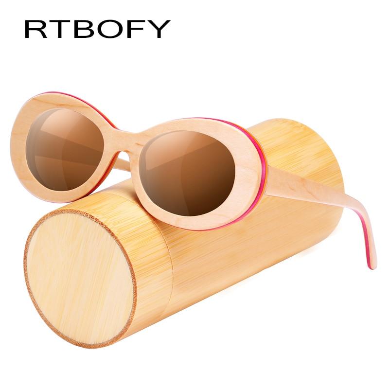 RTBOFY Wood Sunglasses for Women and Men Maple Wood Shades Vintage Design Glasses rtbofy wood sunglasses for men and women skateboard wood frame shades oval shape glasses