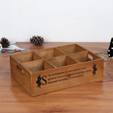 New 6 Lattice Food Wood Box Cosmetics Jewellery Organizer Underwear Sundries Box Wooden Storage Boxes Wood Furniture
