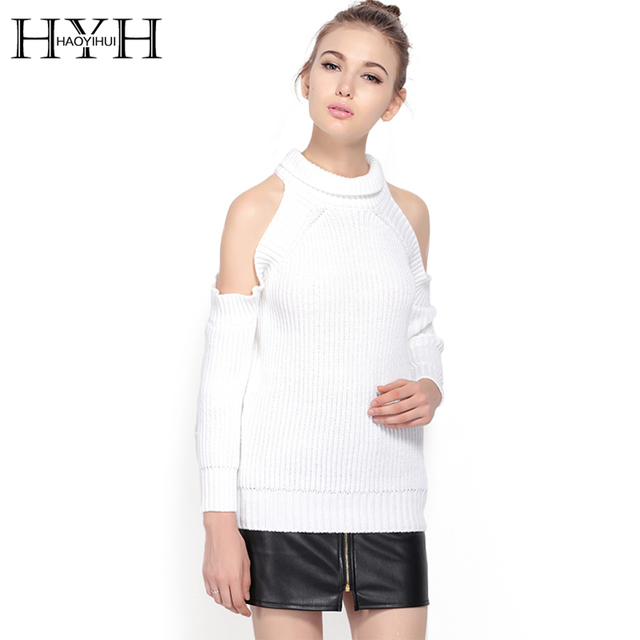 HYH HAOYIHUI 2017 Brand New Autumn Women Fashion High Collar Pullover Sexy  Long Sleeve Off Shoulder Solid Casual Loose Sweater