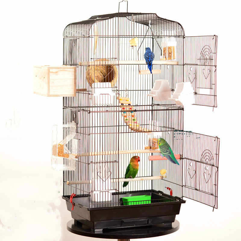 Large metal stainless steel bird cage small and medium parrot breeding cage wrought iron ZP01031415