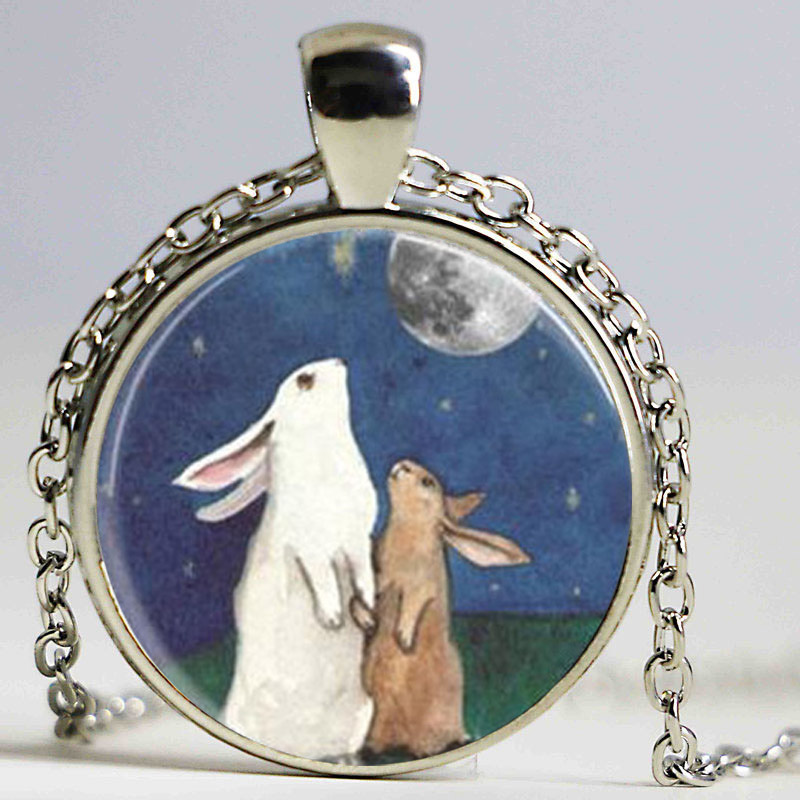 Steampunk Rabbit Necklace Full Moon Jewelry I Love You to the Moon and Back Art Pendant Necklace Gift Chain men women antique