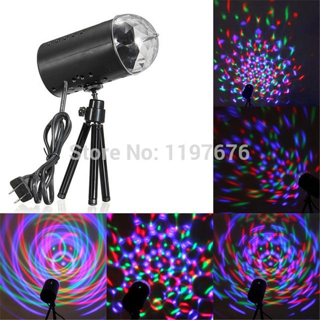 EU/US Plug 3W LED RGB Stage Light Auto Rotating Crystal Laser disco lighting lamp DJ LED Bulb Party Dancing Lamp 1pc free ship