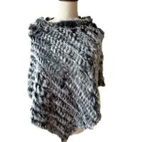 Wraps Lady's Genuine Real Rabbit Fur Cape Knitted Poncho Women Winter Wam Fur Shawl BLACK
