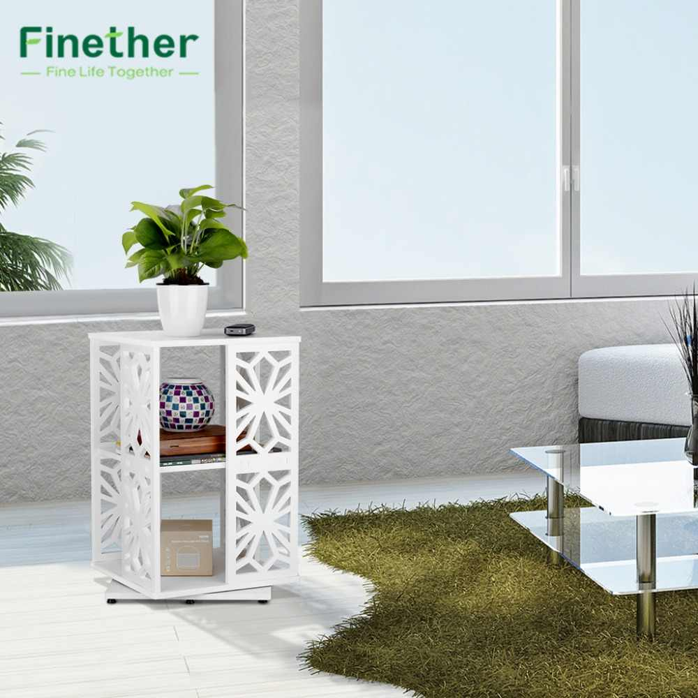 Finether 2 Tier Modular 360 Degree Swivel Rotatable Cut-Out Wood Plastic Composite Shelf Unit Bookcase Storage Organizer