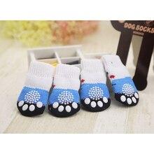 4 шт. теплая для щенков собак обувь мягкие акриловые вязаные носки для домашних животных милые Нескользящие Носки с рисунком для маленьких собак товары для домашних животных S/M/L