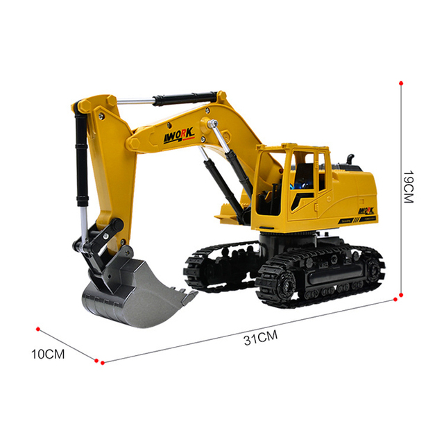 8CH Simulation toy RC excavator toys with Musical and light Children's Boys RC truck Beach toys RC Engineering car tractor 4