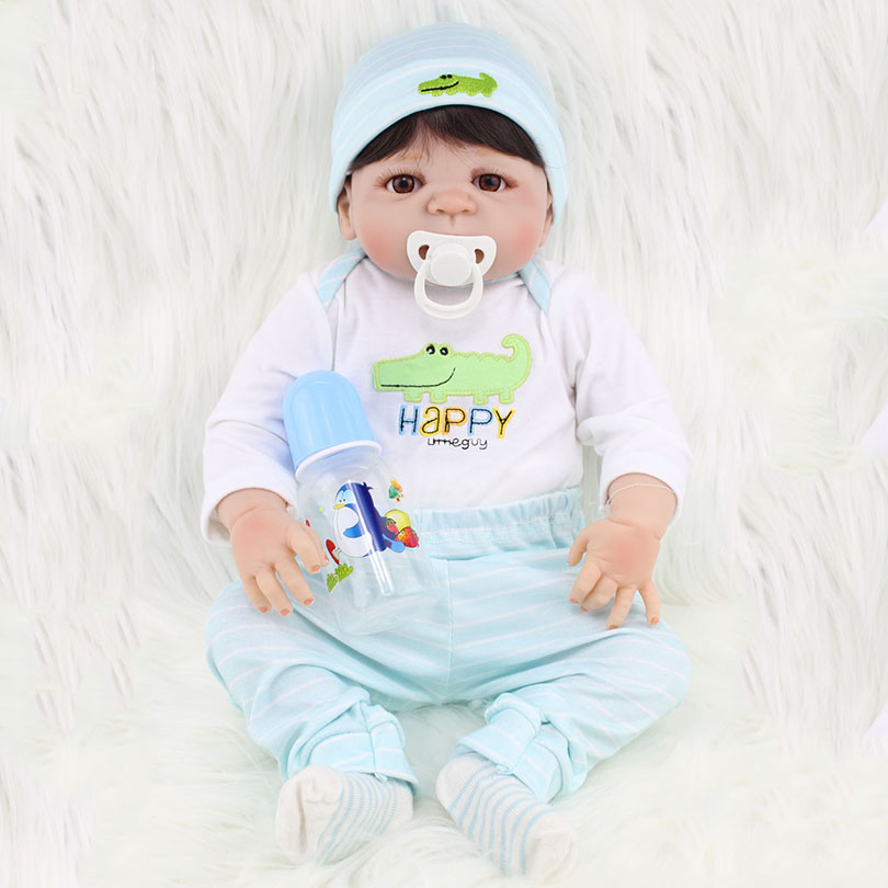 55cm Full Body Silicone Dolls Reborn Baby Lifelike Realistic Collection Toys Reborn Babies Boy Doll for Children Girls Bonecas часы мужские из серебра ника 84424