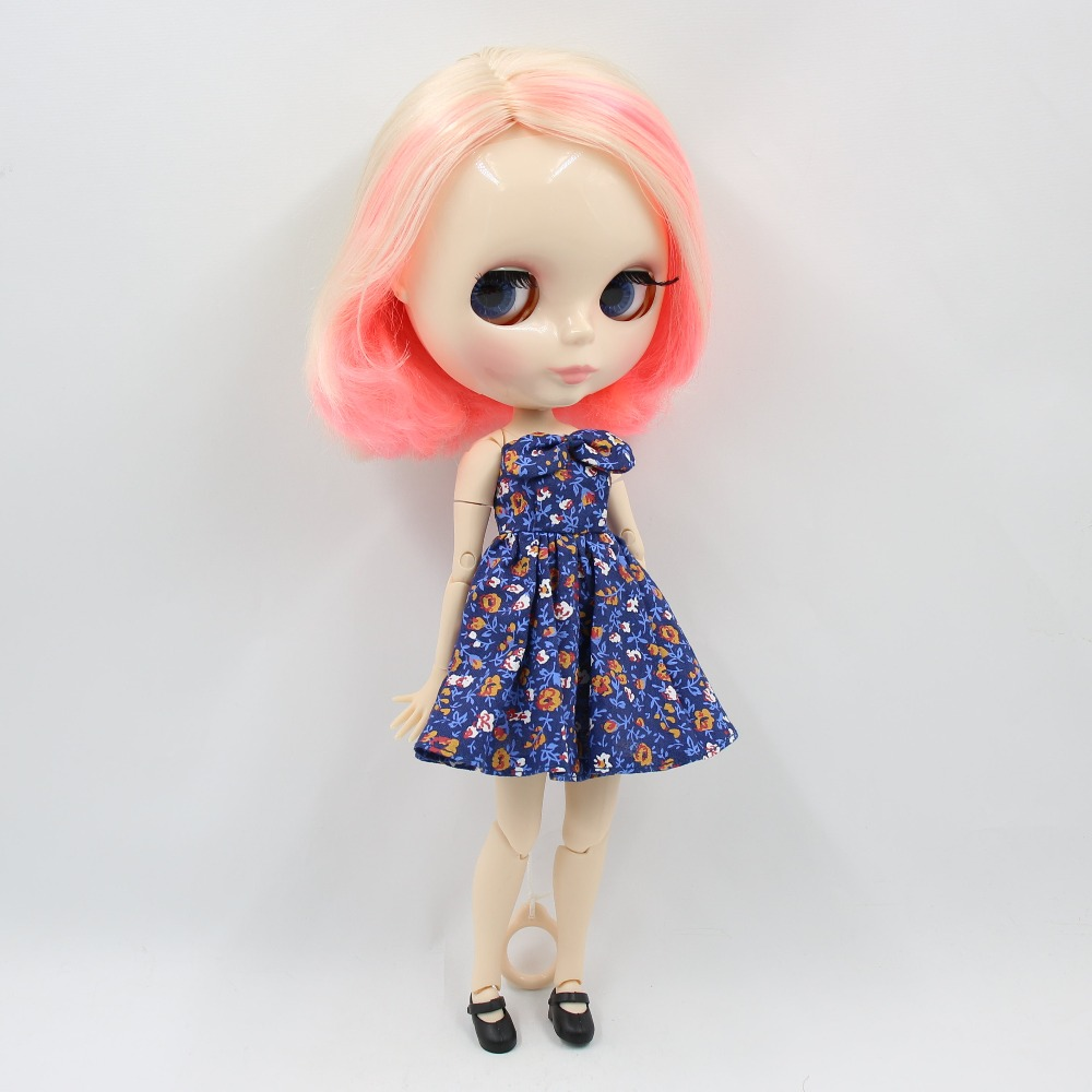 factory blyth doll 1 6 bjd joint body white skin 30cm short hair blonde and pink