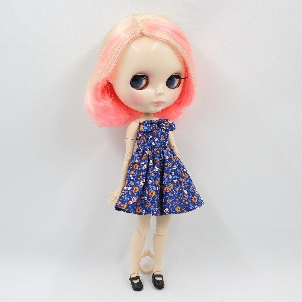 Oyuncaklar ve Hobi Ürünleri'ten Bebekler'de Fabrika blyth doll 1/6 bjd ortak vücut beyaz cilt 30cm kısa saç sarışın ve pembe saç çıplak bebek BL1263 /340/3139'da  Grup 1