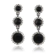 E0255 Fashion Wedding Jewelry Round White Black Crystal Long Drop Earrings Elegant Lady High Quality Rhinestone Dangle Earrings