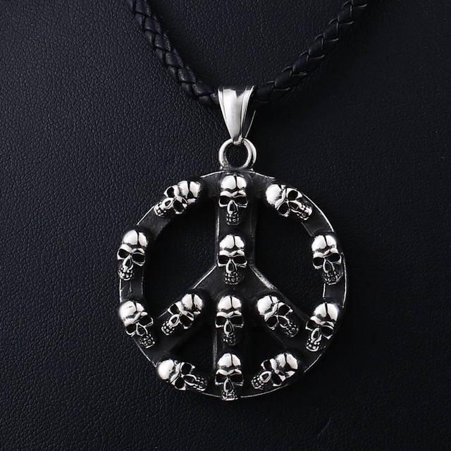 STAINLESS STEEL PEACE SKULL NECKLACE